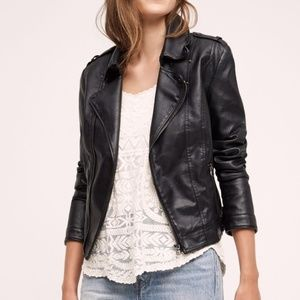Anthropologie JKT Vegan Leather Moto Jacket Brown